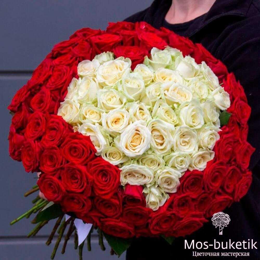 101 роза в виде сердца купить