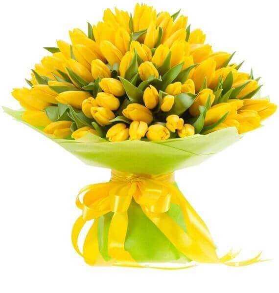 Букет из 101 жёлтых тюльпанов