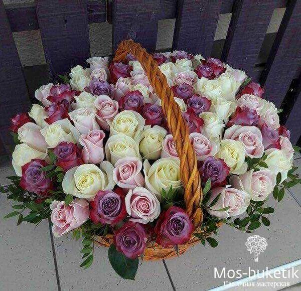 101 роза в корзине недорого
