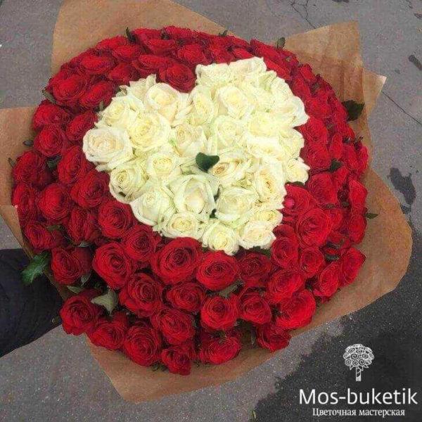 """101 роз с сердце,101 красной розы с выкладкой """"сердце"""""""