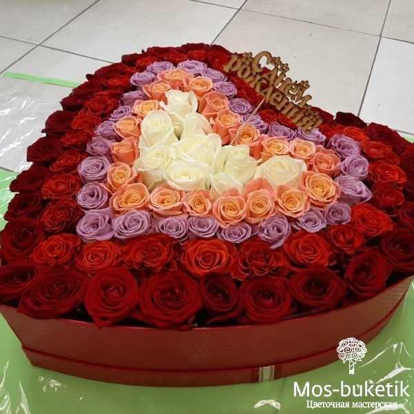 101 роза в шляпной коробке (сердца)