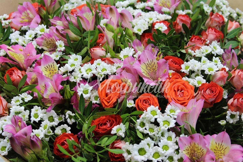 Букет из кустовых роз и альстромерии недорого