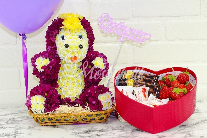 Игрушка из живых цветов в москве единарог прикрасный подарок недорого мосбуктик