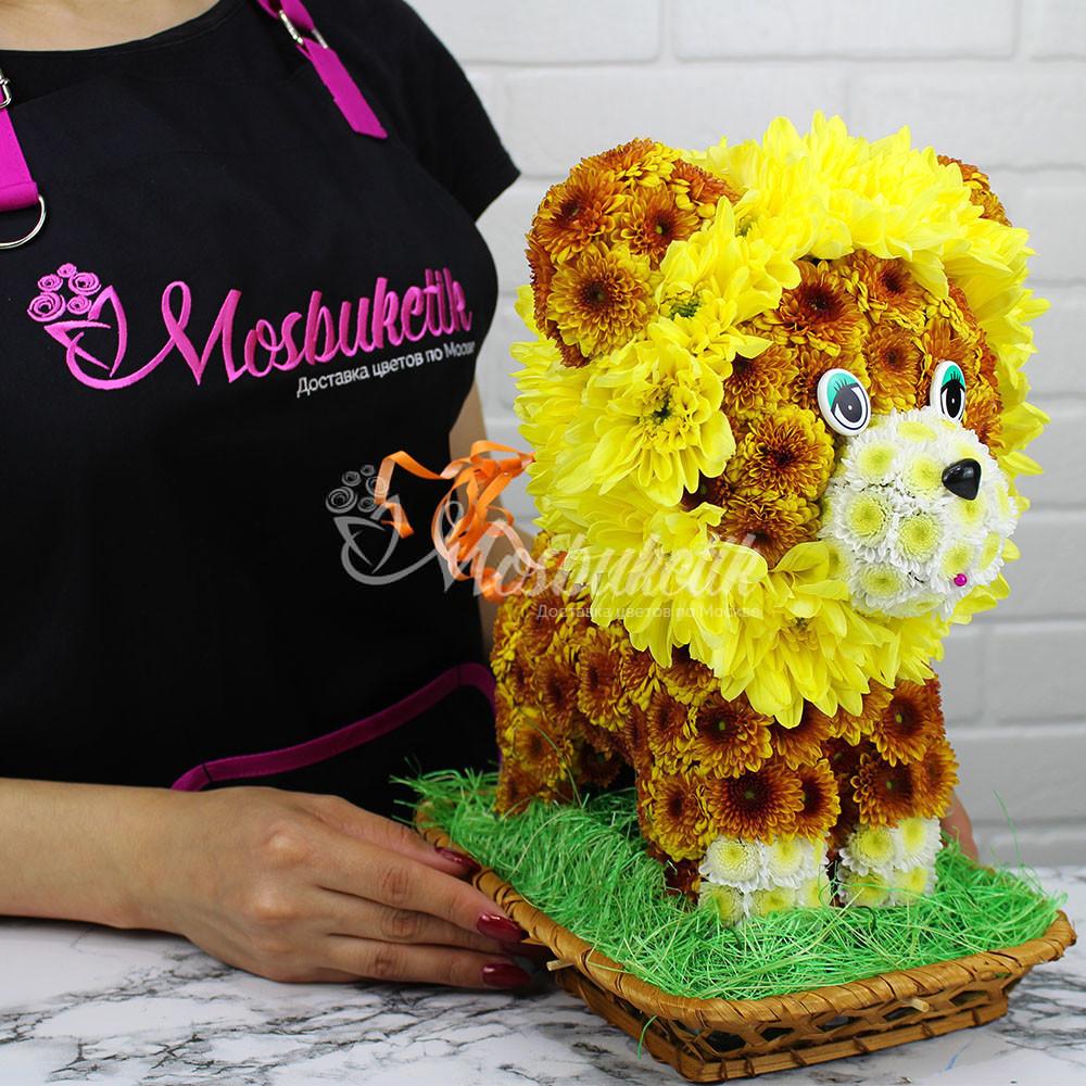 Левёнок игрушка из живых цветов в Москве недорого