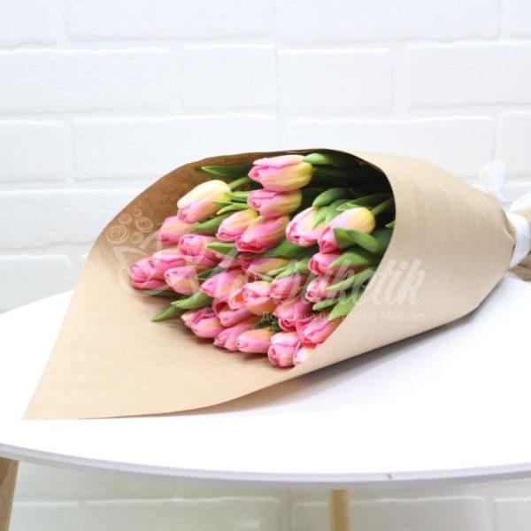 Букет из 25 тюльпанов розовых, купить в Москве