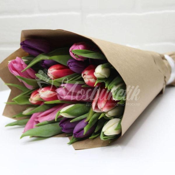 Букет из 25микс тюльпанов