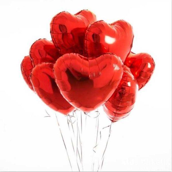 Сердце красное фольгированный шар с гелием (45 см)