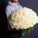 Букет из 101 белой розы (50 см)3