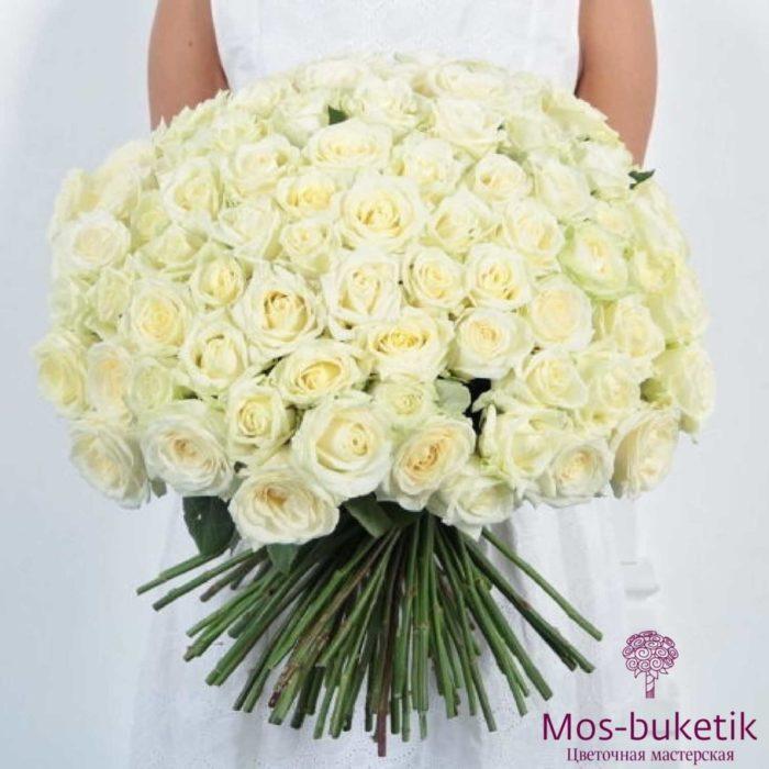 Букет из 101 белой розы в ленте