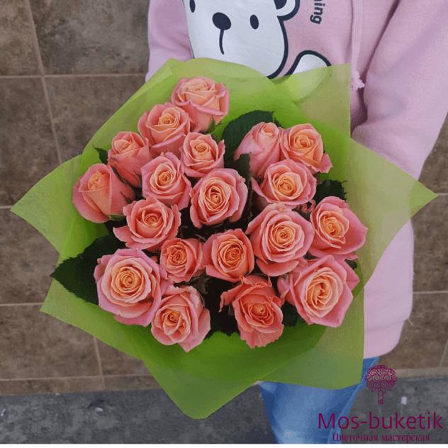 Букет из 19 персиковых роз (50см)