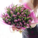 Букет из фиолетовых, пионовидных тюльпанов (51 шт)
