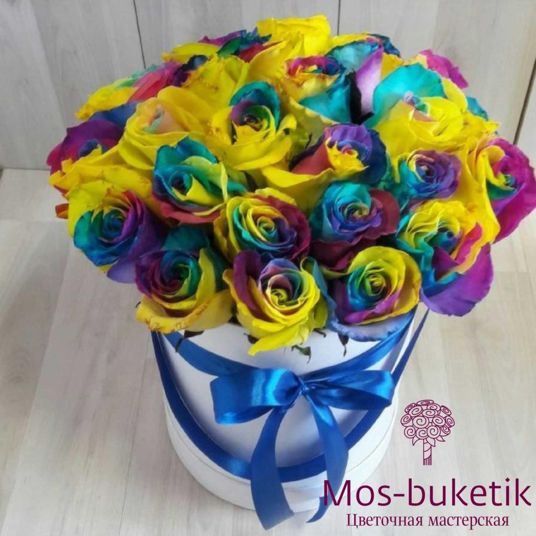 Радужные розы 25 в коробке