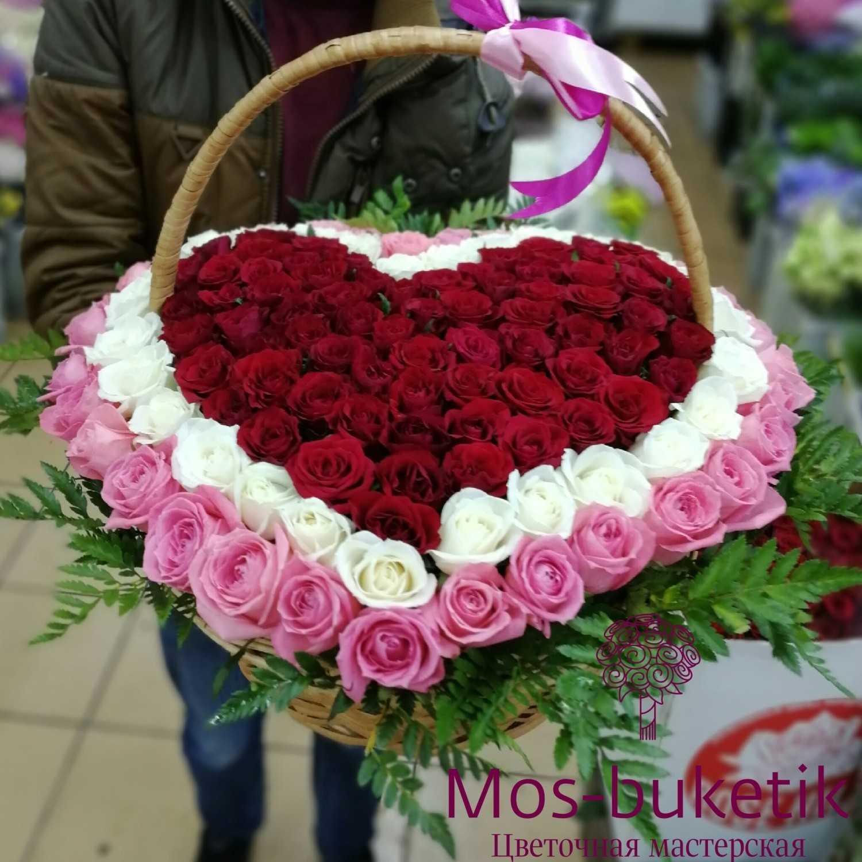 101 роза в корзине сердца